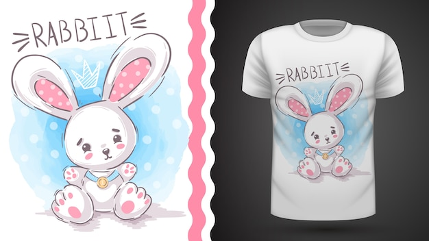 Tシャツとイラストのかわいいウサギ