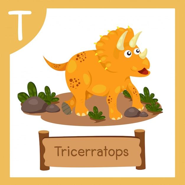 恐竜トリケラトプスのtのイラストレーター