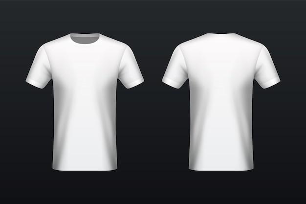 フロントとバックの白いtシャツのモックアップ