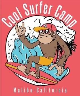 Tシャツの印刷のための手描きのクールな猿のベクトルデザイン