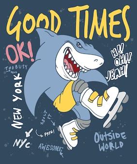 Tシャツ印刷のための手描きのクールなサメベクトルデザイン