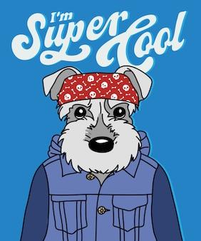 Tシャツ印刷のための手描きのクールな犬のベクトルデザイン