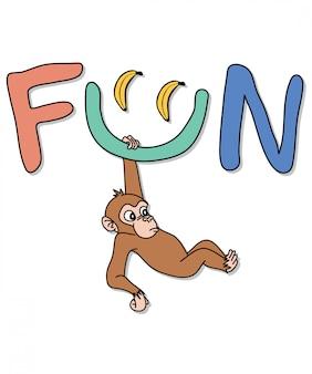 Tシャツ印刷のための手描きの猿のベクトルデザイン