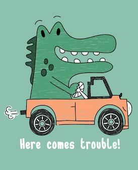 Tシャツ印刷のための手描きのかわいい恐竜のベクトルデザイン