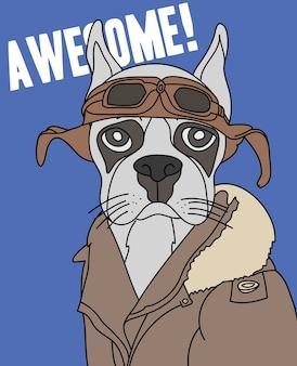 Tシャツ印刷のための手描きのかわいい犬のベクトルデザイン