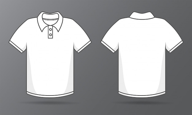 表と裏のテンプレートシャツデザインのためのシンプルな白いtシャツ。