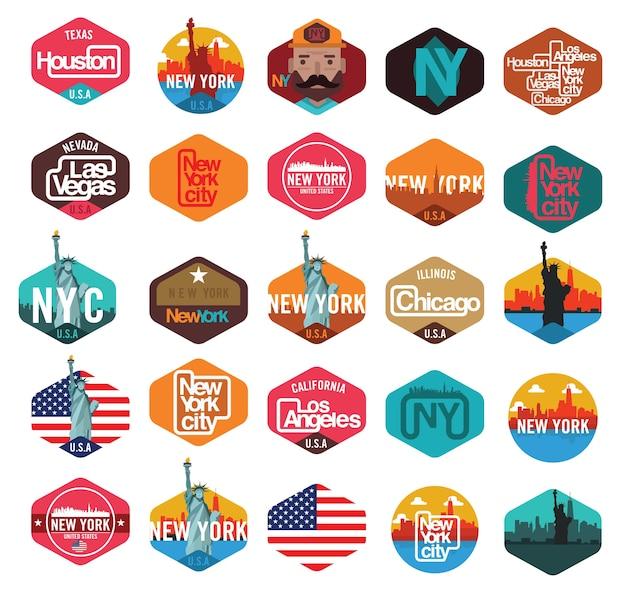 ニューヨーク、ロサンゼルス、ラスベガス、シカゴ、ヒューストンのステッカーのエンブレムtシャツのデザイン