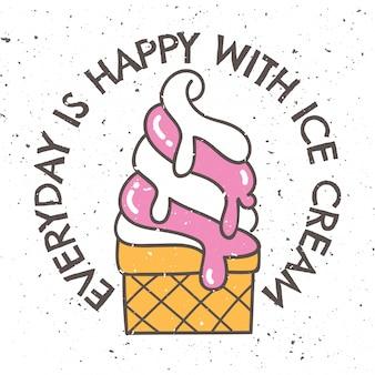 アイスクリームとスローガンのヴィンテージのtシャツデザイン