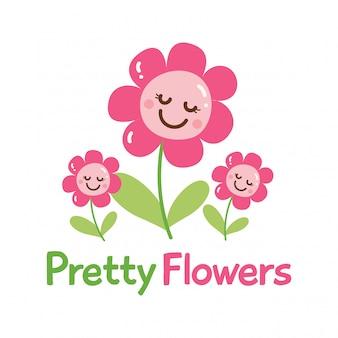 スローガンとカワイイの花のかわいいtシャツデザイン
