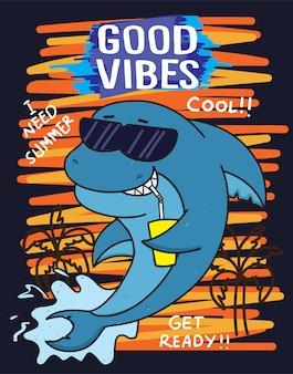 夏のサメの手描きのtシャツ