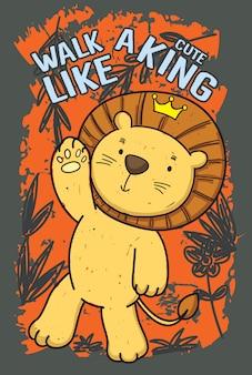Tシャツのための手描きのかわいいライオン