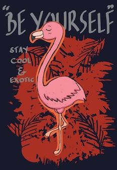 Tシャツのための手描きのフラミンゴ