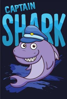 Tシャツデザインの漫画サメ