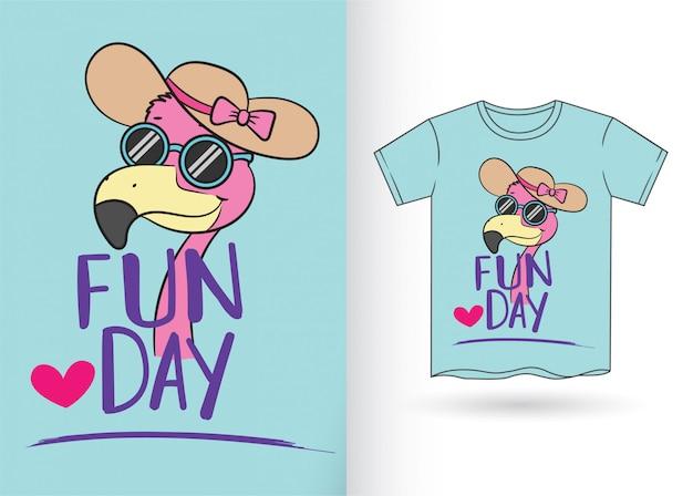 Tシャツのためのかわいい漫画のフラミンゴ