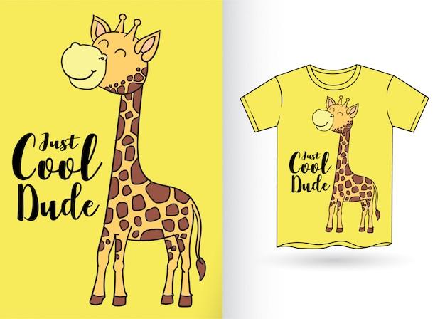 Tシャツのかわいい手描きキリン