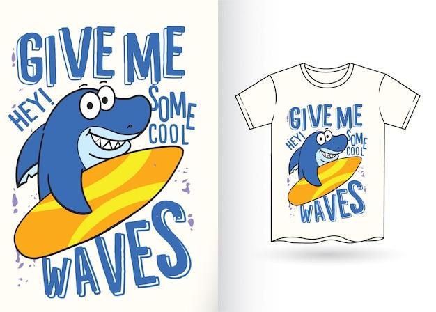 Tシャツのためのサメ