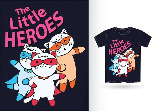 Tシャツのためのかわいい小さな猫のスーパーヒーロー