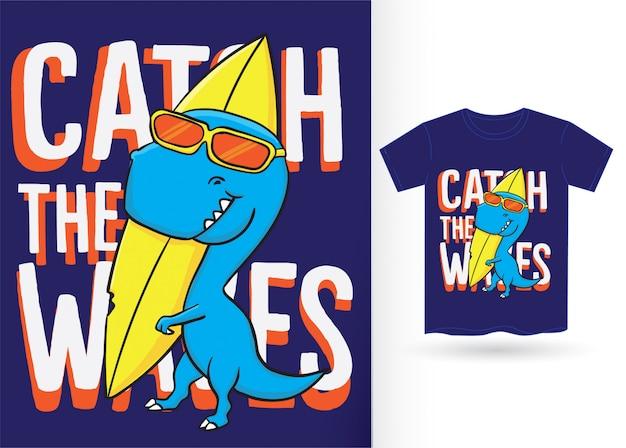 Tシャツの手描き恐竜イラスト