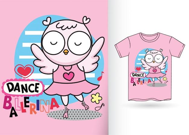 かわいいフクロウ漫画手描きのtシャツ