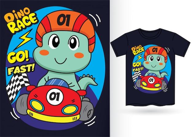 Tシャツのためのかわいい恐竜サッカー選手の図