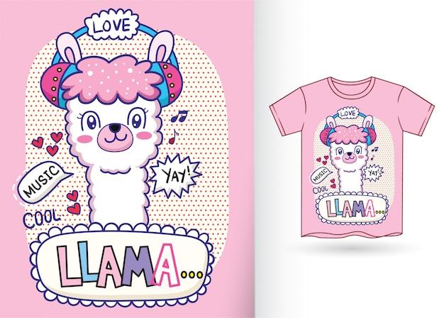 Tシャツのためのかわいいラマ漫画イラスト