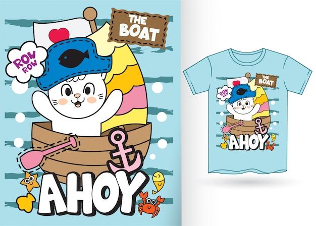 Tシャツのためのかわいい海賊猫