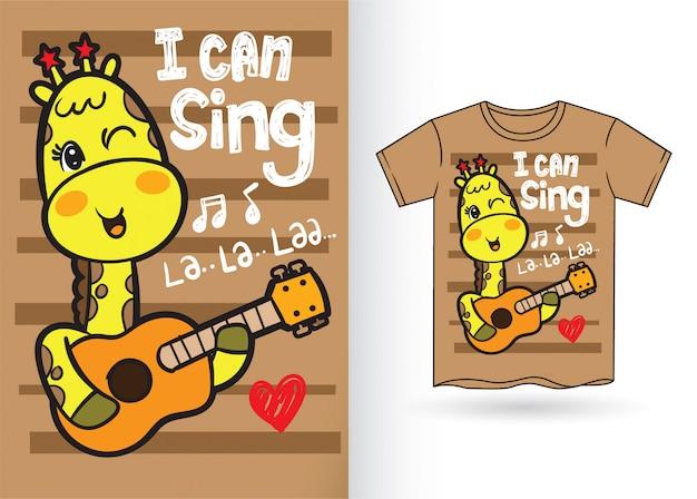 Tシャツのための手描きのかわいいキリン