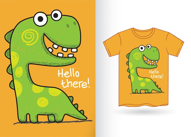 Tシャツのかわいい手描き恐竜