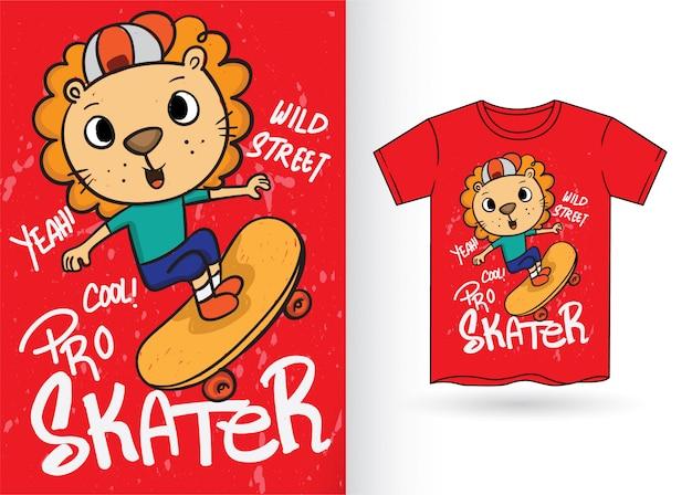 Tシャツのかわいい手描きスケーターライオン