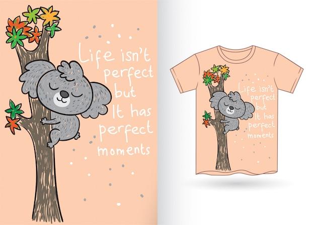 Tシャツのかわいいコアラの手描き
