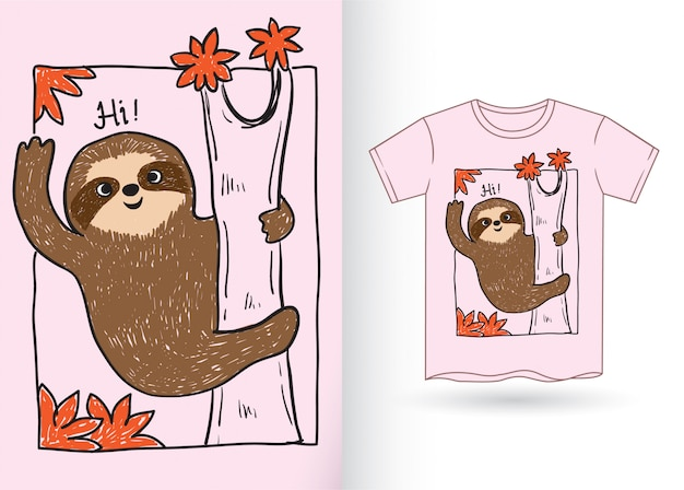 Tシャツのかわいいナマケモノの手描き