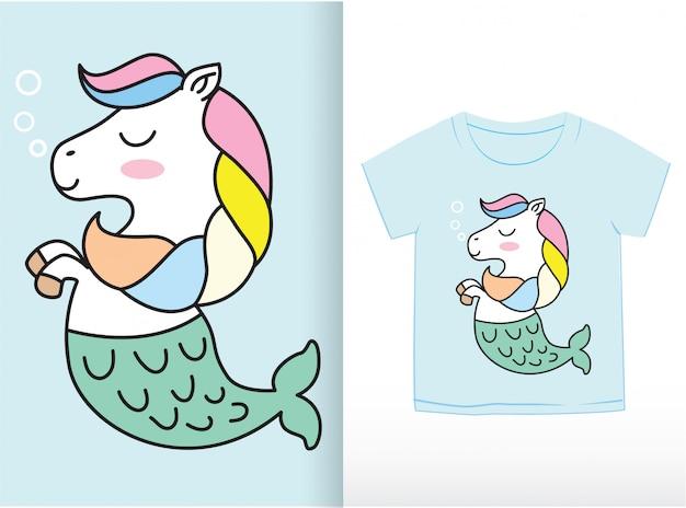 Tシャツに描かれたかわいい小さなアナグマ手