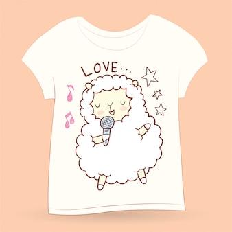 Tシャツのかわいい手描きの小さな羊