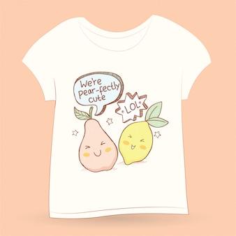 Tシャツに描かれたかわいい梨とレモンの手