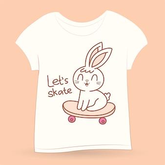 Tシャツのスケートボードのかわいいうさぎ