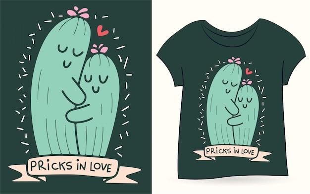 Tシャツのサボテンカップルイラスト