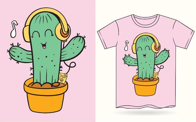 Tシャツの手描きかわいいサボテン