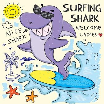サーフィンのサメ手描きのtシャツ