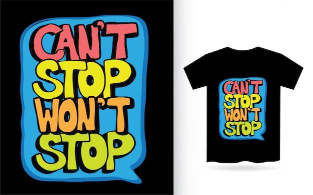 Tシャツの手描きレタリングスローガン