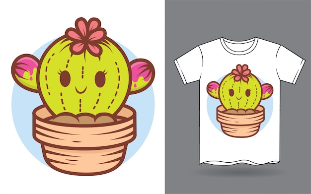 Tシャツプリントのかわいい赤ちゃんサボテン漫画イラスト