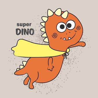 Tシャツのために描かれたかわいいスーパーディーノ手描き