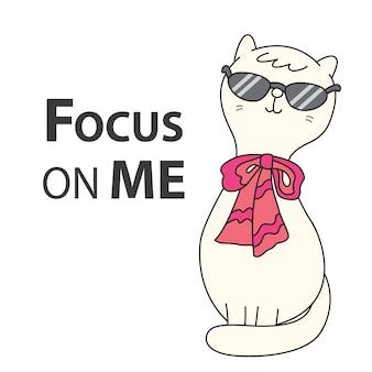 Tシャツのタイポグラフィとかわいい猫