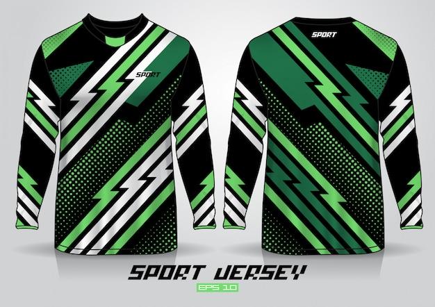 長袖tシャツのデザインテンプレート、前面と背面のユニフォーム。