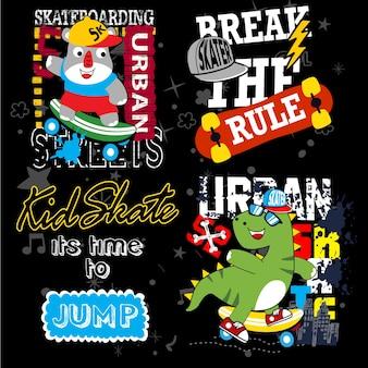 Tシャツと他の使用のためのスケートボードベクトルセット