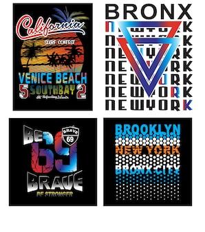 ブルックリン、カリフォルニア、ニューヨーク、タイポグラフィtシャツベクトル