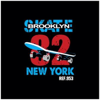 ニューヨークブルックリンスケートボードタイポグラフィtシャツベクトル