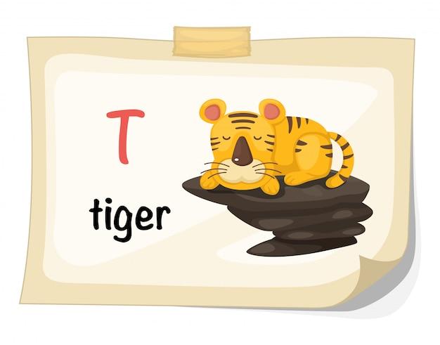 Животное алфавит буква t для вектора иллюстрации тигра