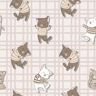 シームレスパターンのかわいい猫のキャラクターがtシャツを着ています。