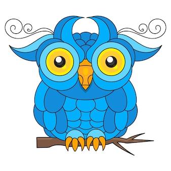 グリーティングカード、ポスターまたはtシャツの印刷に適したフクロウ鳥。