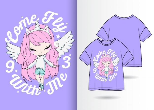 Tシャツと手描きのかわいい女の子
